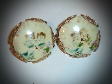 VINTAGE - UNIQUE *THE CHINA DOLLS* PAINTED & FILIGREE SCREW-ON EARRINGS