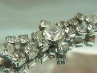 Elegant Rhinestone Prong Set Vintage 1940's Sparkling Flower Bracelet 849D9