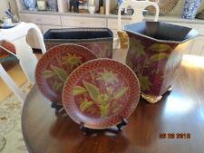 Set 2 Plates Raymond Waites Collection burgandy/gold jungle floral TOYO Trading