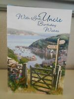 With Love Uncle Birthday Wishes - Coastal Path Harbour Walking Hiking Scene Card