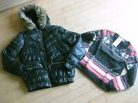 Super Winterjacke in schwarz Gr. 34 + Sweater Gr. S   NEU