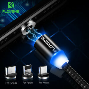 FLOVEME LED Magnetic Micro Type-C Charger USB Cable For iphone 11 Samsung Huawei