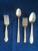 (1) ROGERS BROS 1847 IS CHILDREN'S BABY FORK & (3) MIXED BABY SPOONS & FORKS