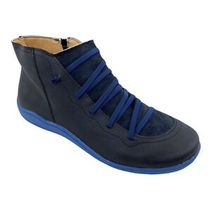 Women Lightweight Chukka Navy Elastic Lace Accent Side Zip Ankle Boots Size 9.5