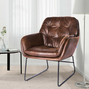 Retro Leather Upholstered Armchair Quilted Wingback Tub Padded Chair Lounge Sofa
