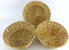 "3 PACK LOT 9"" ROUND 4"" DEEP WICKER BASKET RATTAN WOVEN PLAIN"