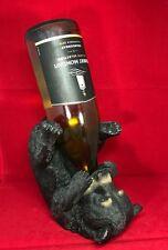 MayRich Drinking Black Bear Wine Bottle Holder Rustic Animal Sculpture