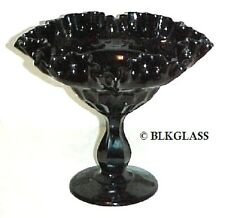 Fenton Ebony Ebony Black Glass Thumbprint Pattern  Large Footed Comport Compote