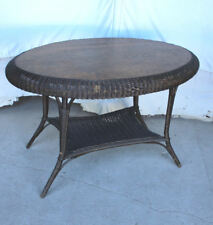 Antique Wicker and Oak Oval shaped Table – original – 45 x 29 1/2