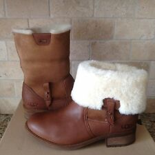 UGG Chyler Demi Leather Sheepskin Cuff Ankle / Short Boots Size US 9.5 Womens