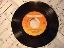 "Barbra Streisand - WOMAN IN LOVE / RUN WILD 45 rpm 7"" vintage vinyl record"