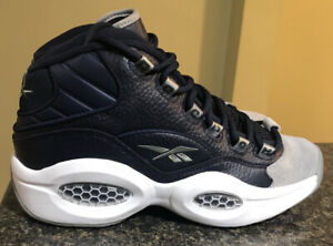 """Reebok Question Mid """"Georgetown"""" Iverson Navy Grey FX0987 Basketball Size 7.5"""