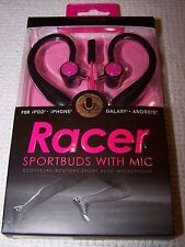 iWorld RACER Sportbuds with In-Line Mic + Remote BLACK/PINK ~ NEW