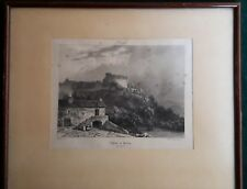 AUVERGNE : Gravure encadrée du Château de PAULHAC (HAUTE-LOIRE), 1831