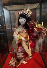 VINTAGE Gofun Japanese Ichimatsu geisha girl Doll glass box