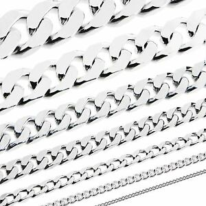 """925 STERLING SILVER 16 18 20 22 24 28 30 31"""" INCH FLAT CURB LINK CHAIN NECKLACE"""