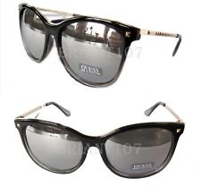 New GUESS GF0302 Black-clear/Silver mirror Womens Sunglasses $75