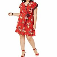 LOVE SQUARED Women's Plus Size Flutter-sleeve Floral Fit & Flare Dress 3X TEDO