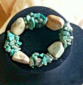 Chunky Turquoise Stretch Bracelet Natural Chips Stones Triple Strung