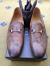 New Gucci Mens Shoes Brown Leather Snakeskin Horsebit Loafers UK 8.5 US 9.5 42.5