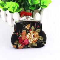 Women Girl Retro Flower Printed Coin Bag Purse Wallet Key Card Case Mini Handbag
