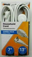 Extension Cord Set of 2 13 Ft and 7 Foot Household Item Power Cable 3 Outlet