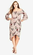 NEW City Chic Pink Skye Floral Off the Shoulder Dress Size XS