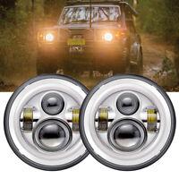 "Chrome 7"" LED Headlights Halo for Nissan Patrol MQ GQ Y60 Ford Maverick"
