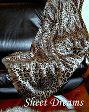 Cynthia Rowley Snow Leopard Faux Fur Throw Blanket New Tags