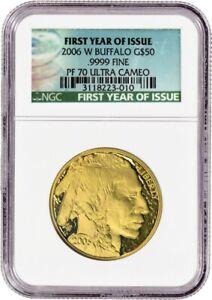 2006 W $50 American Gold Buffalo 1 oz .9999 NGC PF70 Ultra Cameo FYOI