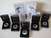 BIRDS OF AUSTRALIA 2013 Silver Proof 1/2 oz Coloured Coins Whole Set