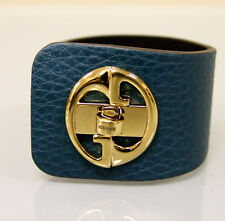"$550 NEW Authentic GUCCI ""1973"" Leather Bracelet Bangle w/Gold G,17,Blue 253514"