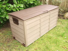 GARDEN STORAGE WATERPROOF CHEST UTILITY CUSHION BOX SHED PLASTIC MOCCA AND BROWN