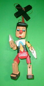 "Pinocchio Marionette Puppet  Hand Carved Wood Large 16"" Disney  Pinochio"