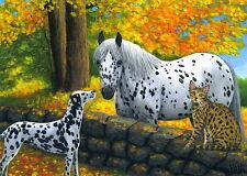 Dalmatian dog bengal cat appaloosa horse autumn fall limited edition aceo print