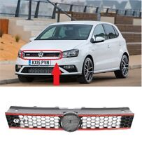 NEW VW POLO 6R GTI FRONT BUMPER MAIN CENTRE GRILLE BLACK RED MESH 2009-2014