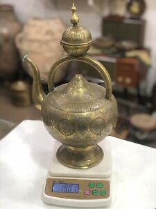 Antique Hand Engraved  Brass Islamic Mamluk Copper Tea Pot Water Silver Inlaid