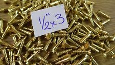 "bag of 50  1/2"" x 3 solid brass countersunk slotted head wood screws traditional"