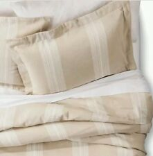 Fieldcrest Yarn Dyed BEIGE Striped Duvet Cover Set ~ King ~ Cotton Linen
