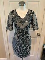 Baraschi Anthropologie Blue Floral Print V-Neck Dress, Size 0