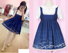 Girls Punk Lolita fairy kei vivi liz lisa Short Sleeve dress onepiece Blue