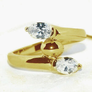 Unique 9K Gold Filled Leav Crystal Stone Ring for Womens Female Rings Size 7