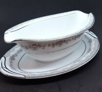 Noritake China Glenwood 5770 Gravy Boat Attached Underplate Made In Japan VTG