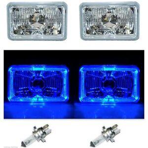 4X6 Blue LED Halo Angel Eye Halogen Headlights Headlamp Bulbs Crystal Clear Pair