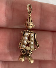 Vintage Clown Pendant, 9k 375 9ct Gold Articulated Seed Pearl
