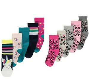 GIRL'S ASSORTED UNICORN / ANIMAL PRINT RICH COTTON ANKLE SOCKS 5 PACK