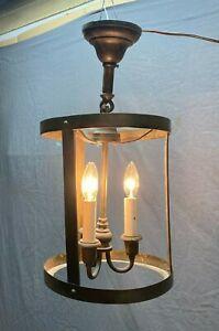 Antique Large Brass Ceiling Light Fixture Pendent Cylinder Vtg Old 83-21E