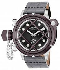 Invicta 16235 Russian Diver Nautilus Swiss Mechanical Black Dial Leather Watch
