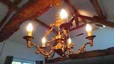 Bronze Vintage French Chandelier Five Arm Ormolu Light Fitting Bird Cage Pendant