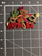 Arizona AZ Patch Cowboy Hat Quiver Bow & Arrows Feathers Saguaro Cactus Rope USA